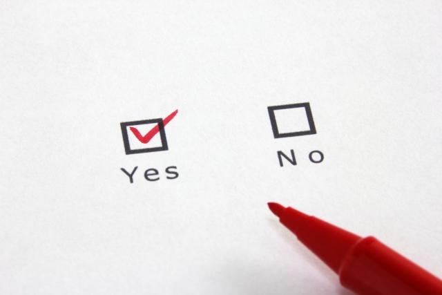 Yes/Noの2つが並ぶチェックボックス。赤ペンでYesにチェックがされている。